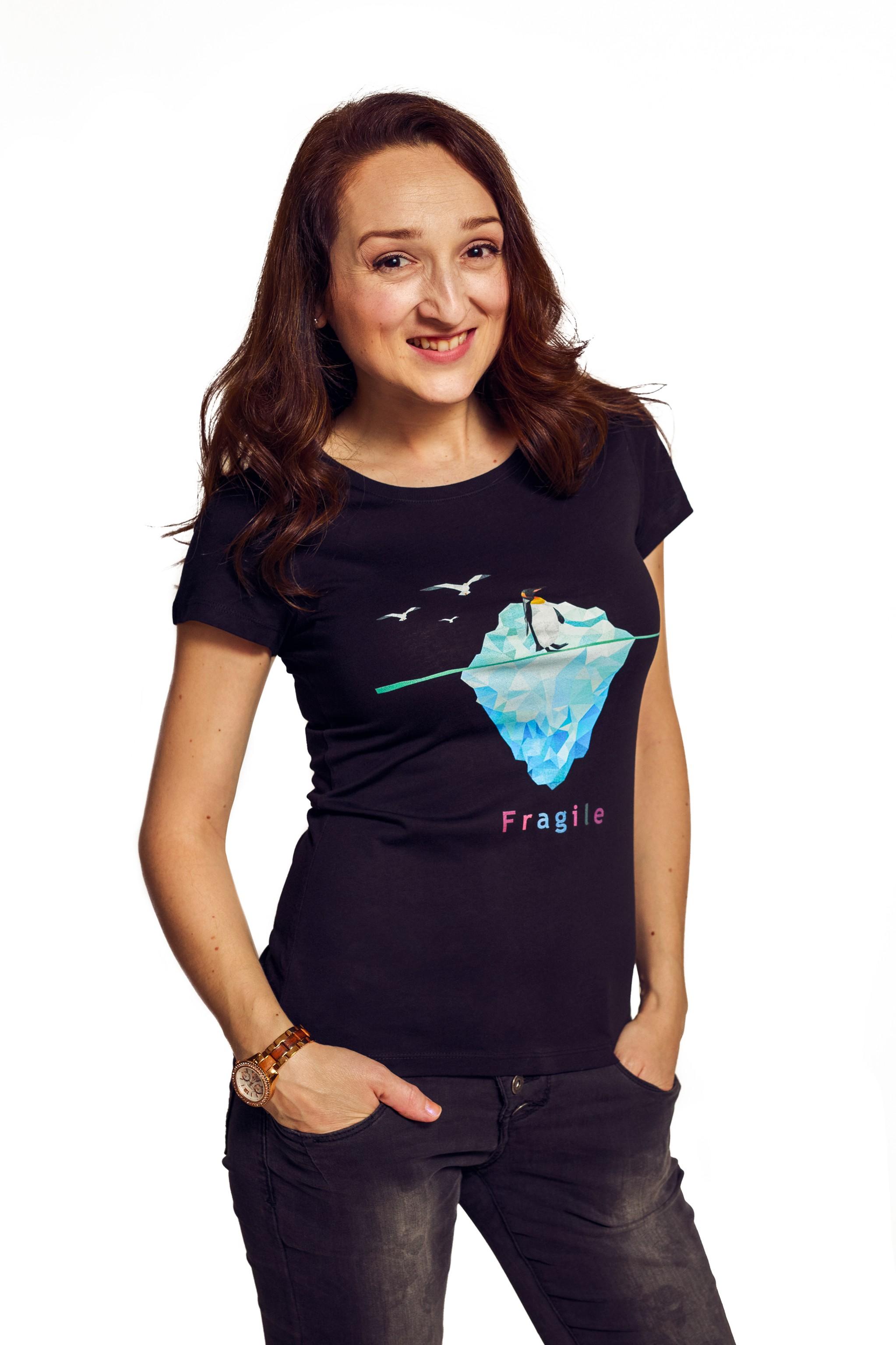 Fragile - Tričko Penguin - Žena, Čierna, XS