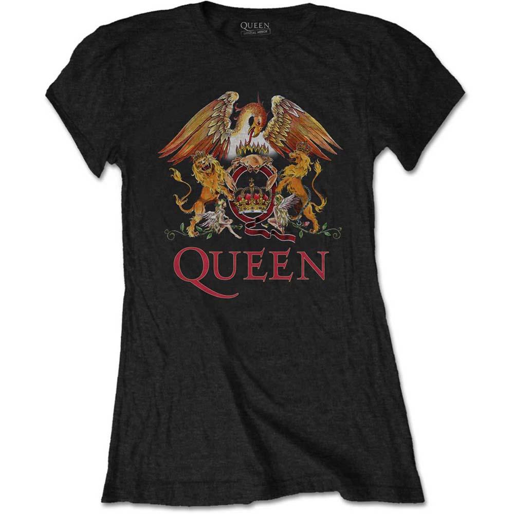 Queen - Tričko Classic Crest - Žena, Čierna, S