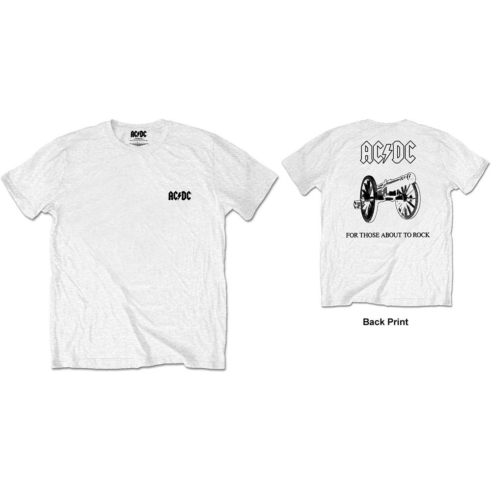 AC/DC - Tričko About To Rock - Muž, Unisex, Biela, XL