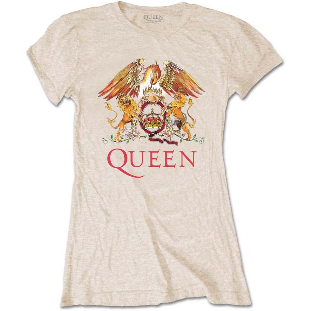Queen - Tričko Classic Crest - Žena, Natural, XL