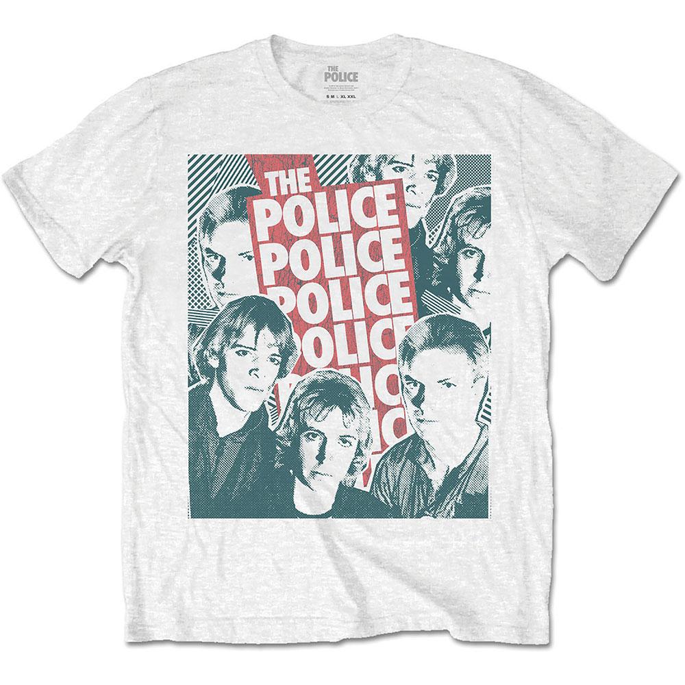 The Police - Tričko Half-tone Faces - Muž, Unisex, Biela, S