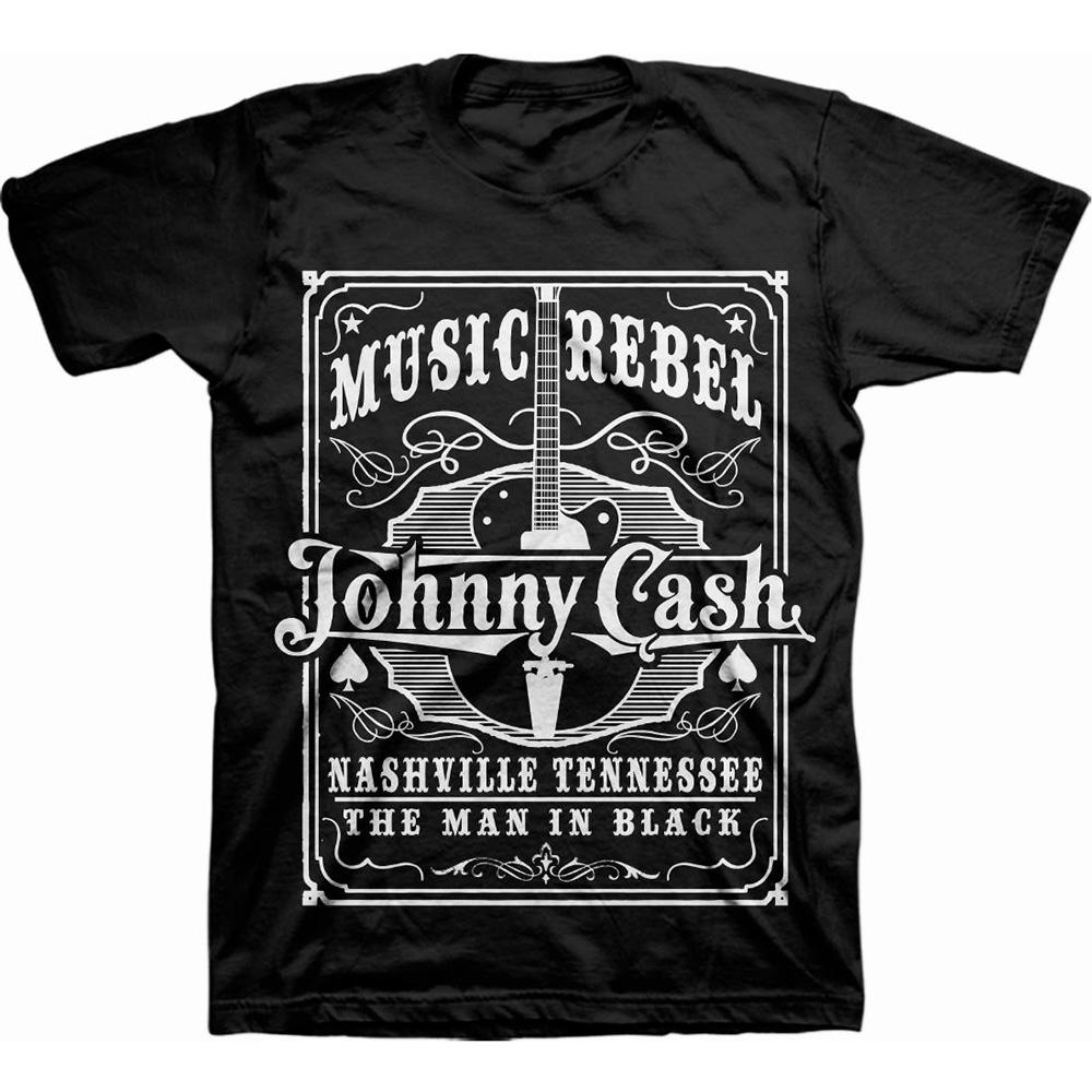 Johnny Cash - Tričko Music Rebel - Muž, Unisex, Čierna, M
