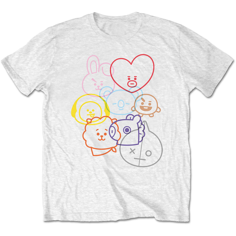 BTS - Tričko Faces - Muž, Unisex, Biela, S