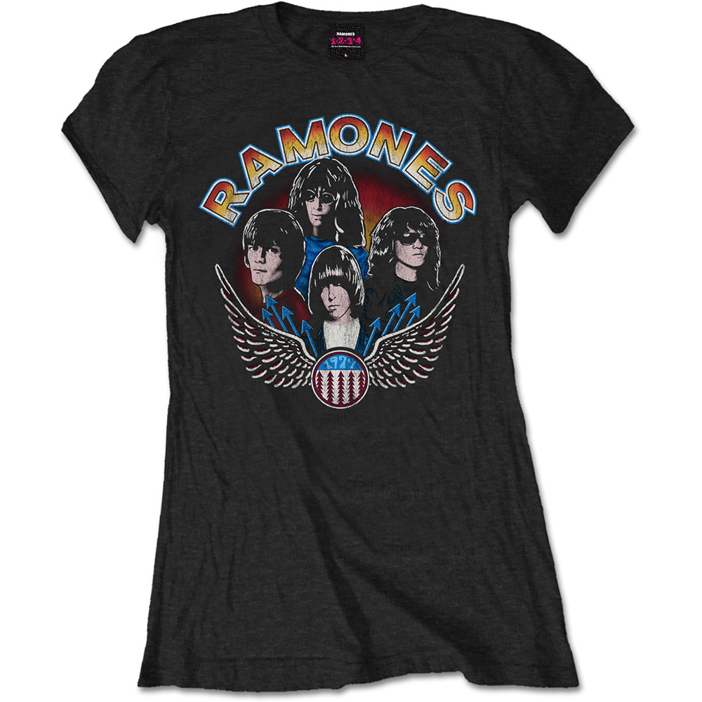 Ramones - Tričko Vintage Wings Photo - Žena, Čierna, XL