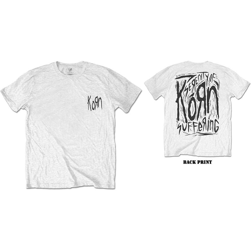 Korn - Tričko Scratched Type - Muž, Unisex, Biela, L