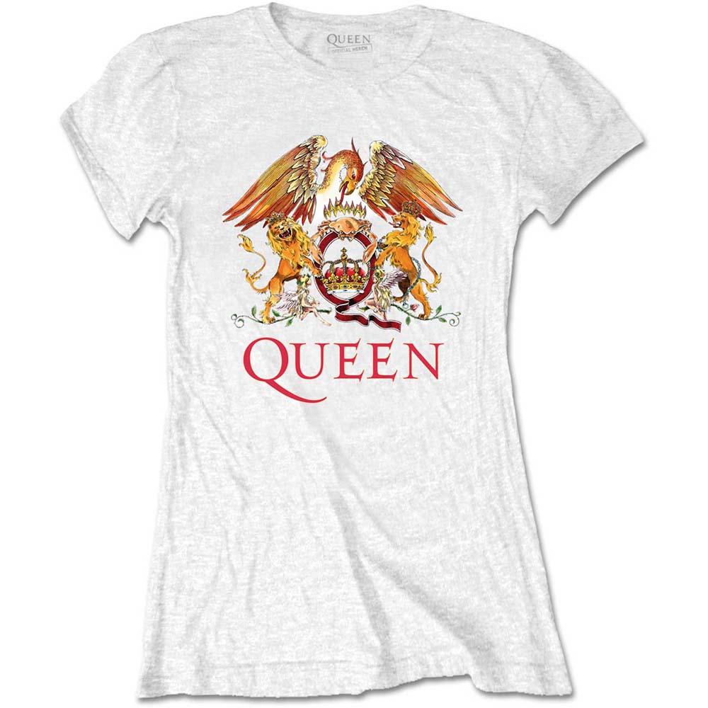 Queen - Tričko Classic Crest - Žena, Biela, XL