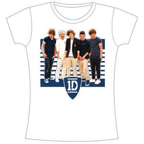 One Direction - Tričko One Ivy League Stripes - Žena, Biela, XL