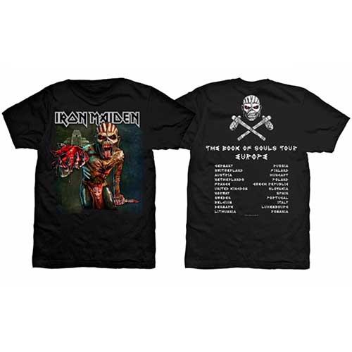 Iron Maiden - Tričko The Book of Souls European Tour - Muž, Unisex, Čierna, S