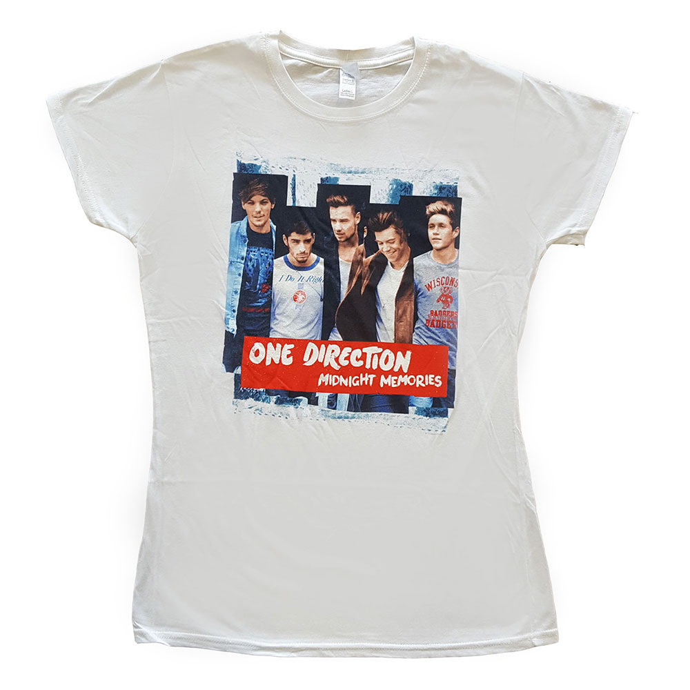 One Direction - Tričko Midnight Memories Strips - Žena, Biela, XL