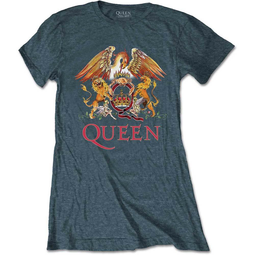 Queen - Tričko Classic Crest - Žena, Modrá, XL