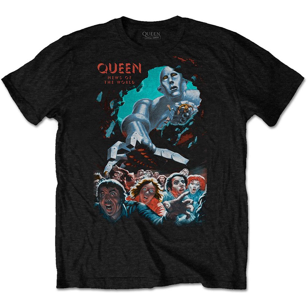 Queen - Tričko News Of The World Vintage - Muž, Unisex, Čierna, XXL