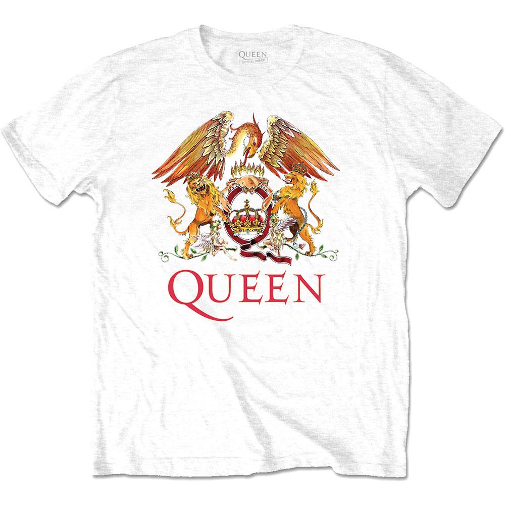 Queen - Tričko Classic Crest - Muž, Unisex, Biela, XL
