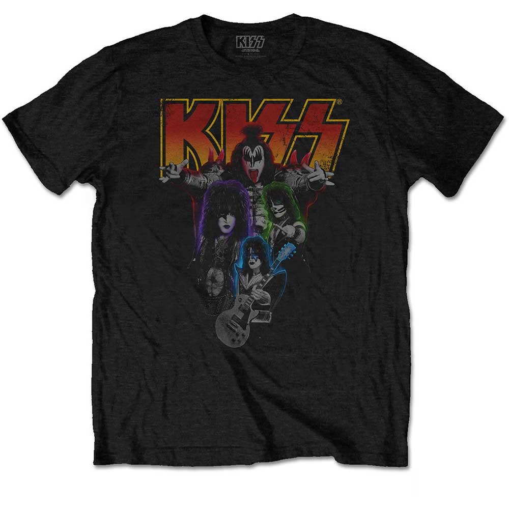 Kiss - Tričko Neon Band - Muž, Unisex, Čierna, XXL