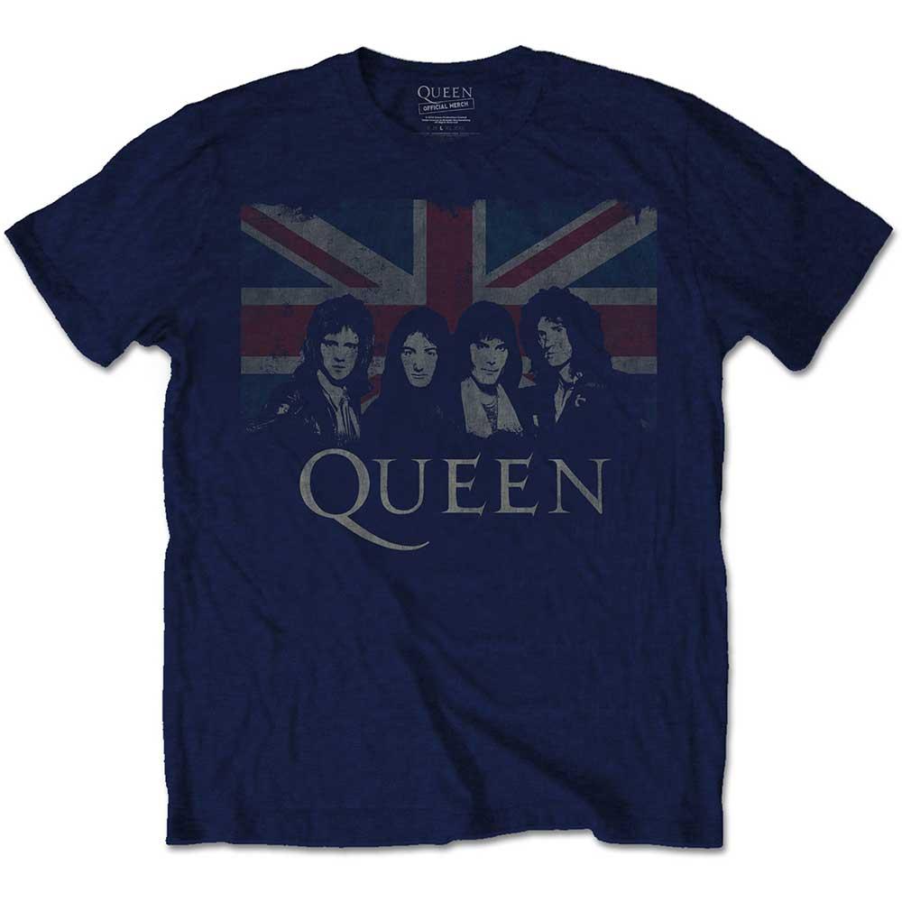 Queen - Tričko Vintage Union Jack - Muž, Unisex, Modrá, XL