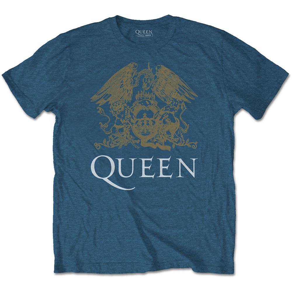 Queen - Tričko Crest - Muž, Unisex, Modrá, XL