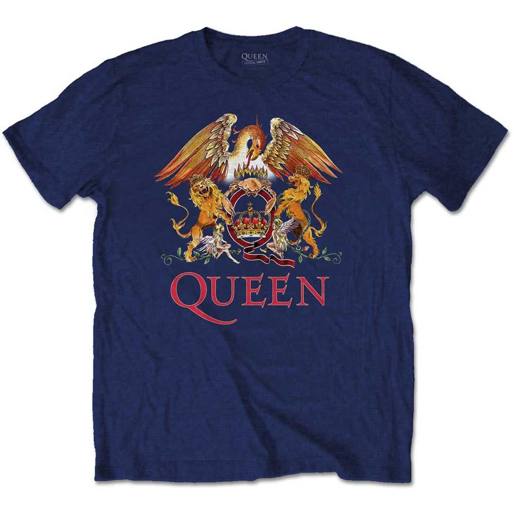 Queen - Tričko Classic Crest - Muž, Unisex, Modrá, XL