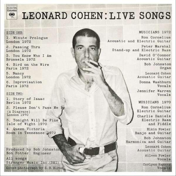 Vinyl COHEN, LEONARD - Leonard Cohen: Live Songs