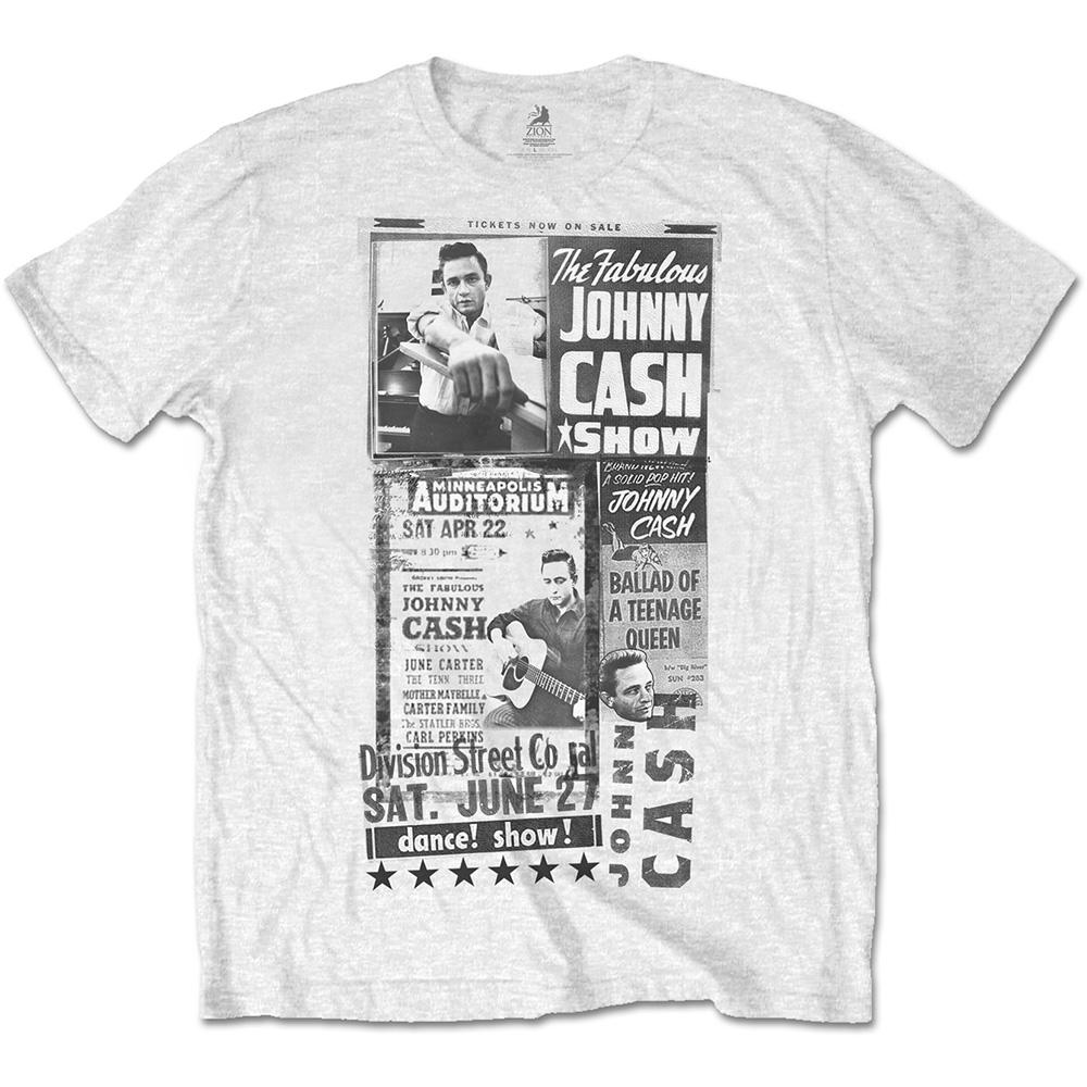 Johnny Cash - Tričko The Fabulous Show - Muž, Unisex, Biela, S