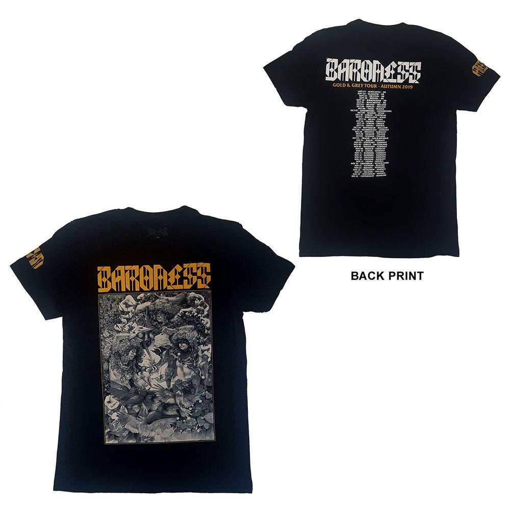 Baroness - Tričko Gold & Grey Dateback - Muž, Unisex, Čierna, XL