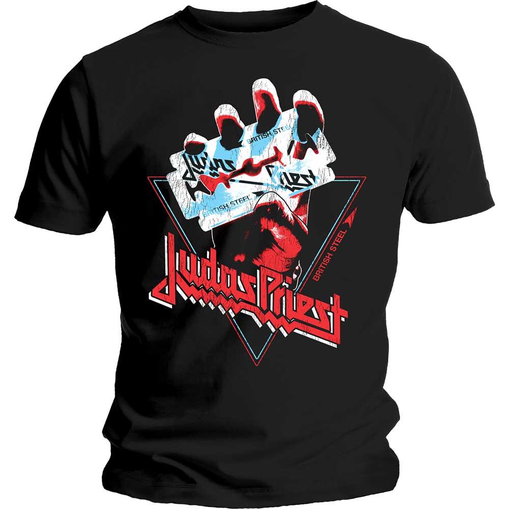 Judas Priest - Tričko British Steel Hand Triangle - Muž, Unisex, Čierna, S