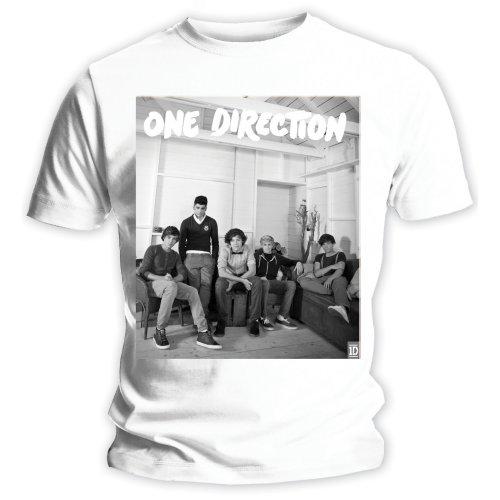 One Direction - Tričko Band Lounge Black & White - Žena, Biela, XL