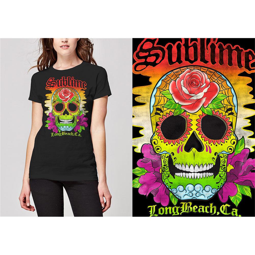 Sublime - Tričko Colour Skull - Žena, Čierna, M