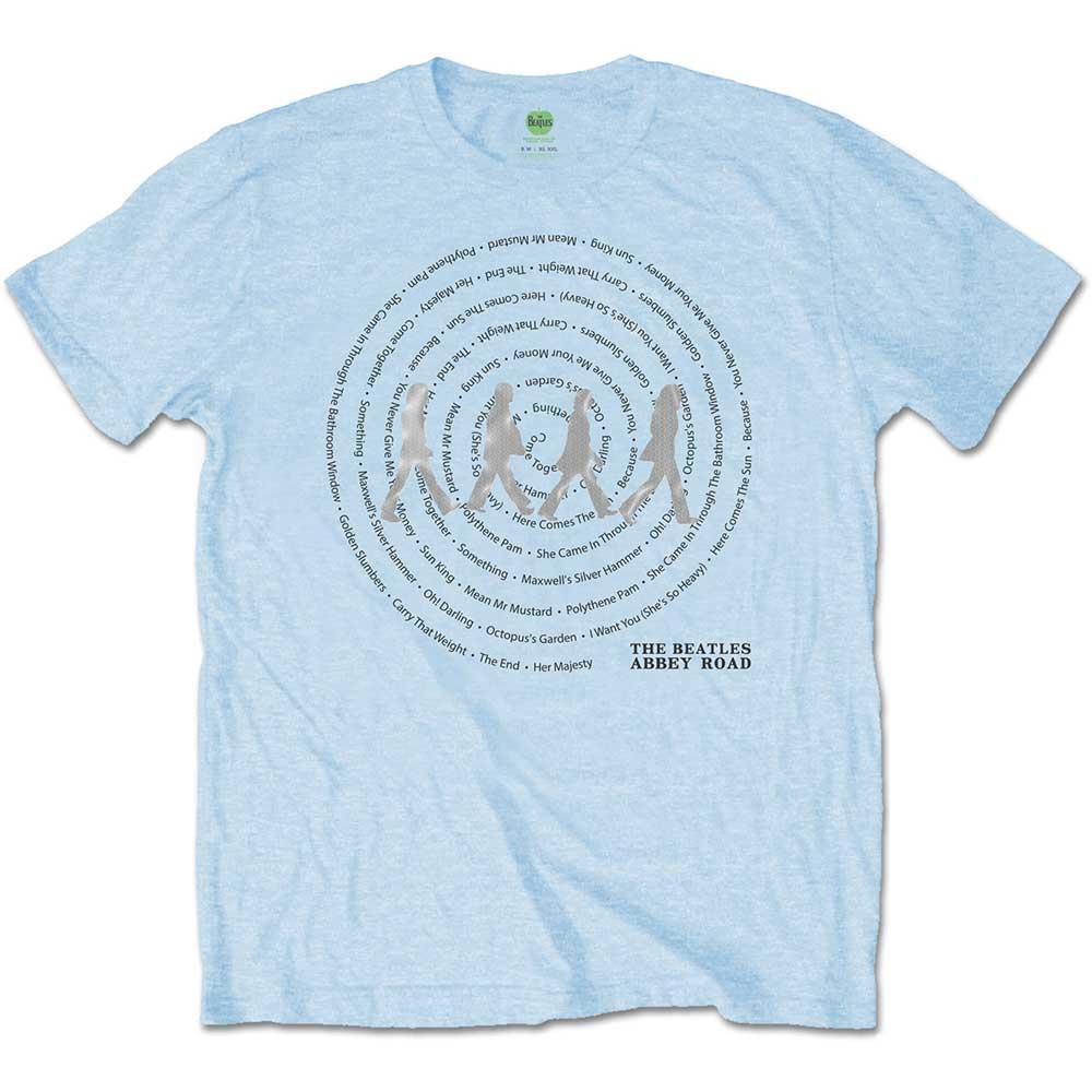 The Beatles - Tričko Abbey Road Songs Swirl - Muž, Unisex, Modrá, S