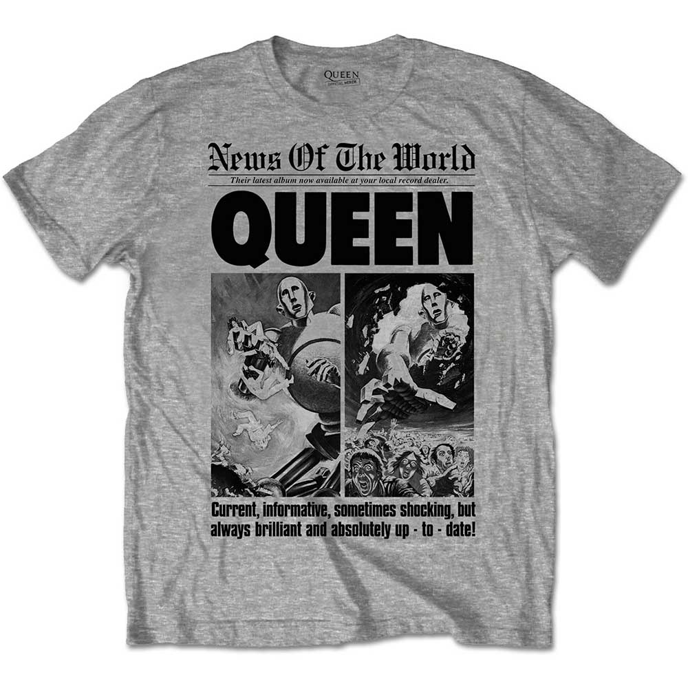 Queen - Tričko News of the World 40th Front Page - Muž, Unisex, Šedá, S