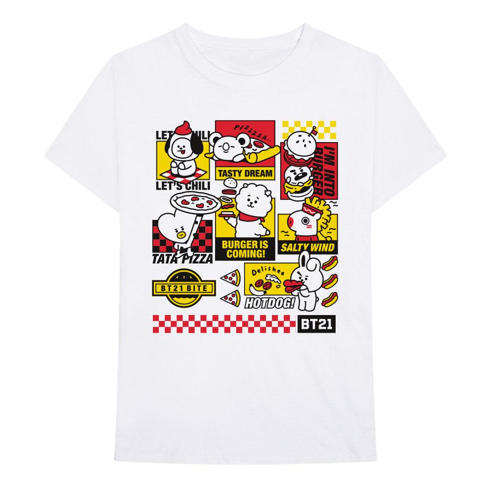 BTS - Tričko Bite Fast Food - Muž, Unisex, Biela, S