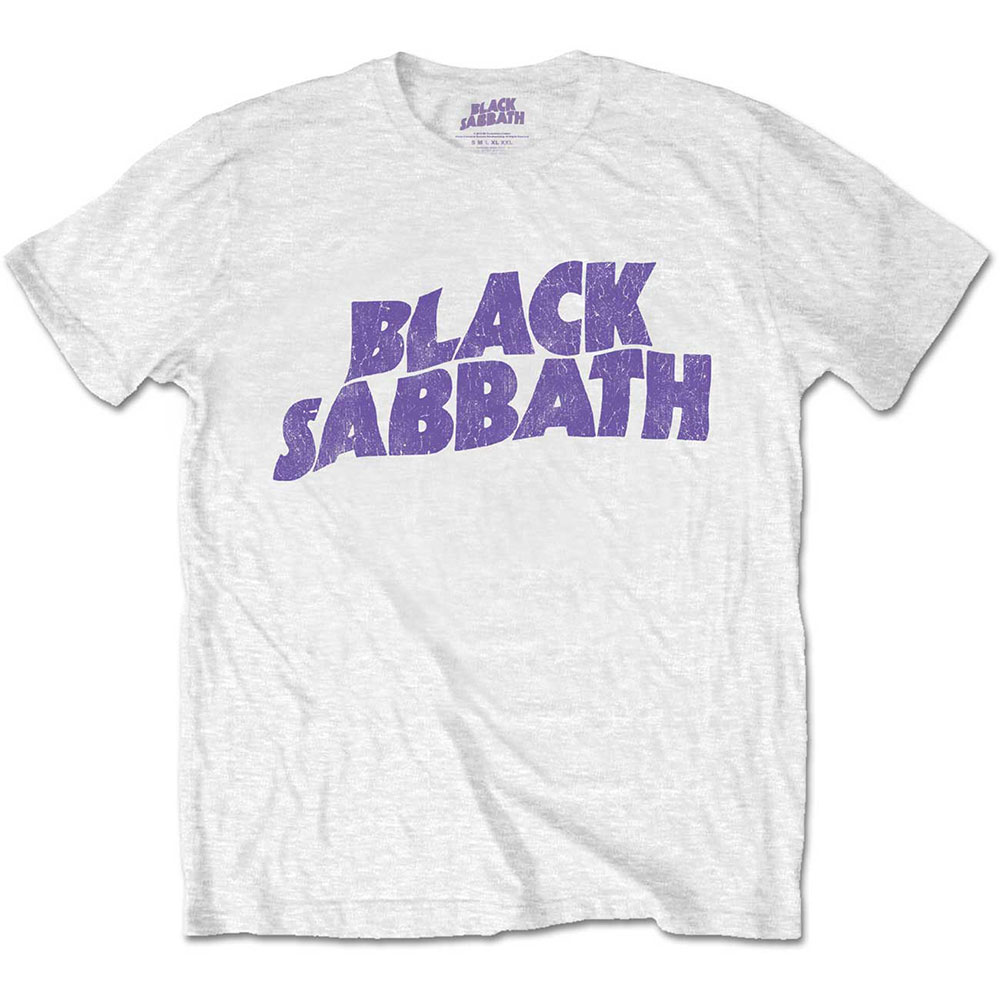 Black Sabbath - Tričko Wavy Logo Vintage - Muž, Unisex, Biela, XXL