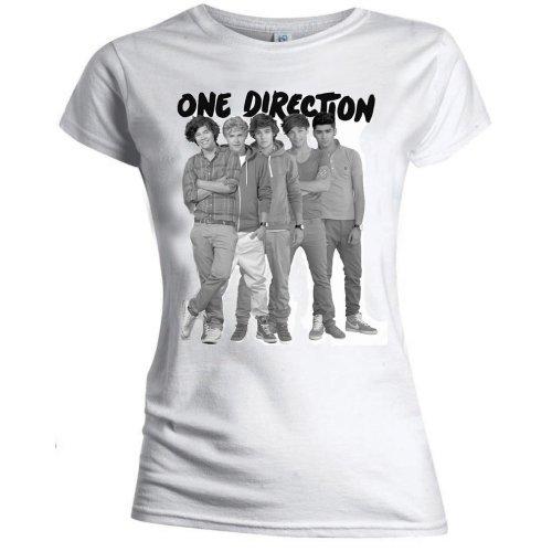One Direction - Tričko Group Standing Black & White - Žena, Biela, XL