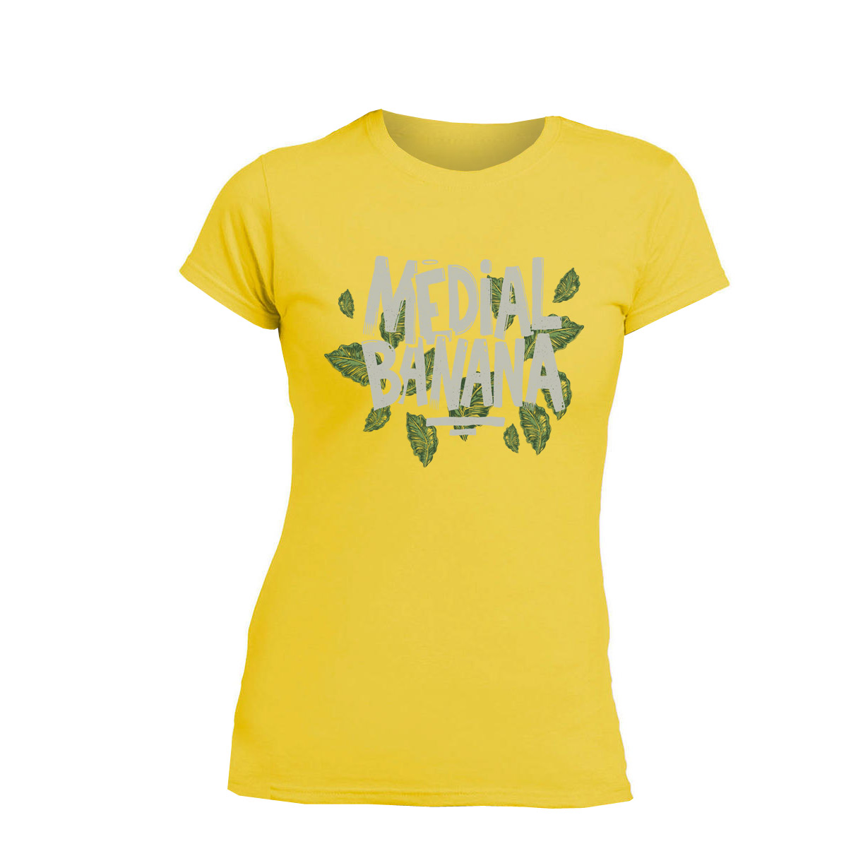 Medial Banana - Tričko Leafy - Žena, Žltá, M