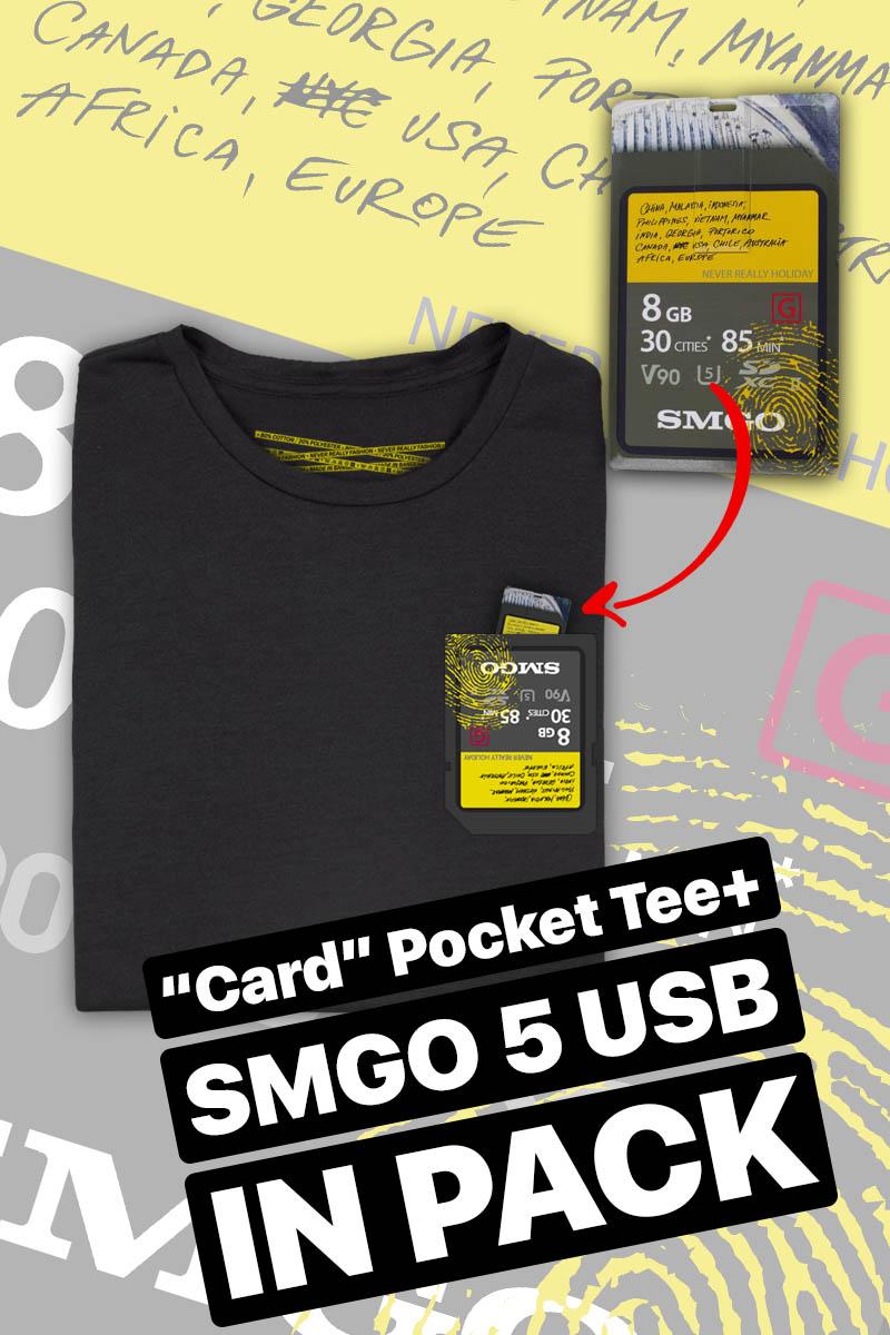 Show must go on - Tričko Card Pocket Tee + SMGO5 USB - Muž, Čierna, M